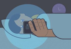 Blue light from phone prevents sleep