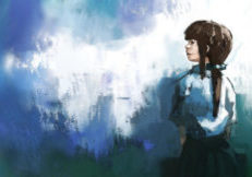 watercolor of beautiful girl in thai school uniform, digital painting